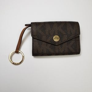 Michael Kors ID Coin Brown Jetset Wallet Keychain